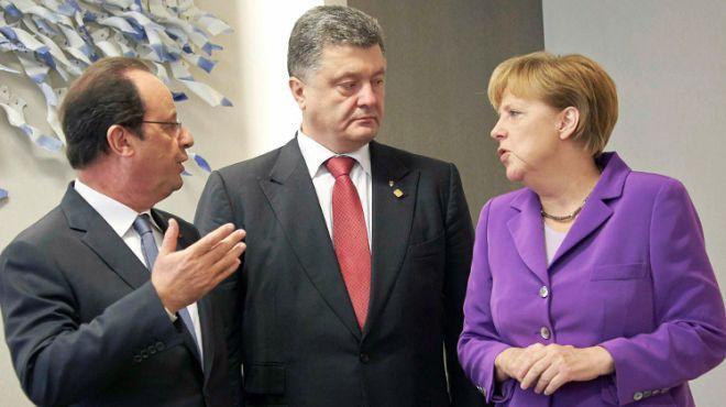 Порошенко, Меркель и Олланд обсудили «дорожную карту» имплементации минских соглашений