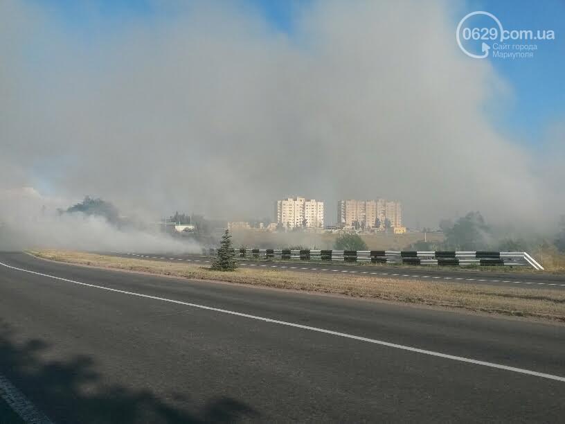 В Мариуполе горит сухостой на подъезде к аэропорту
