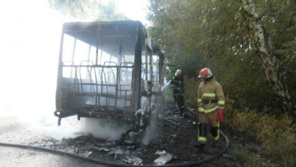 Маршрутка сгорела дотла на Киевщине