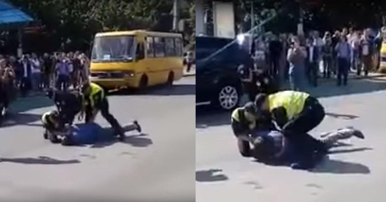 Водителя Range Rover на российских номерах положили лицом в асфальт за неповиновение полиции (ВИДЕО +18)