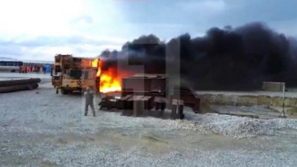 На строительстве Керченского моста произошел пожар (ВИДЕО)