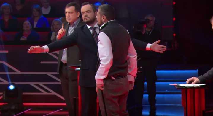 «Кто он такой в моей стране?»: Мосийчук в прямом эфире с костылем набросился на Саакашвили (ВИДЕО)