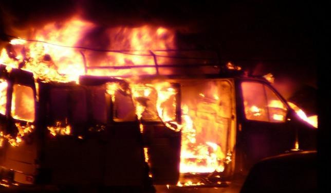 На Полтавщине произошел страшный пожар в микроавтобусе