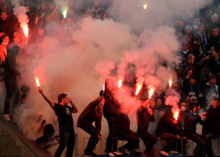 Шахтер-Динамо: Фанаты киевлян спровоцировали драку