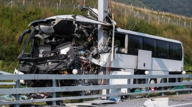В Швейцарии на бешеной скорости разбился автобус с туристами, пострадали дети