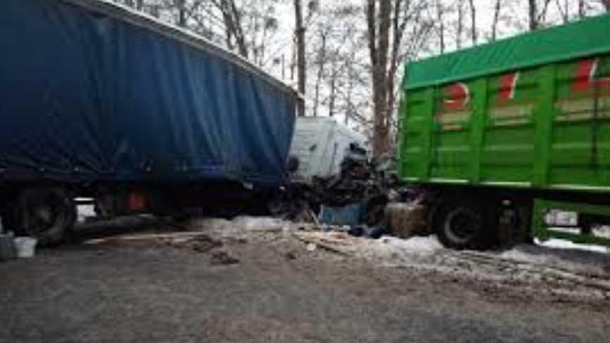 Жуткая ДТП на украинской трассе: Два грузовика на большой скорости врезались друг в друга