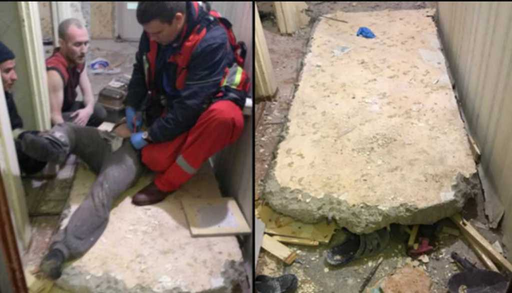 Погиб за минуту: на мужчину упала бетонная плита