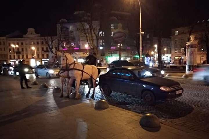 «Даже не думал тормозить»: во Львове карета протаранила Lanos, пьяный кучер сбежал