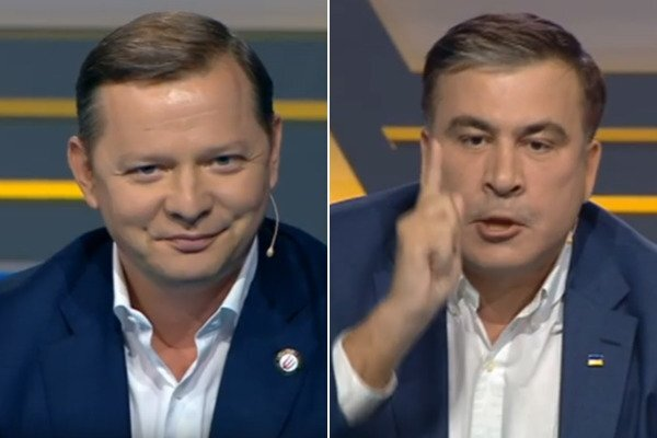 «Как вы разбирались, знает весь мир»: Ляшко и Саакашвили сцепились в прямом эфире