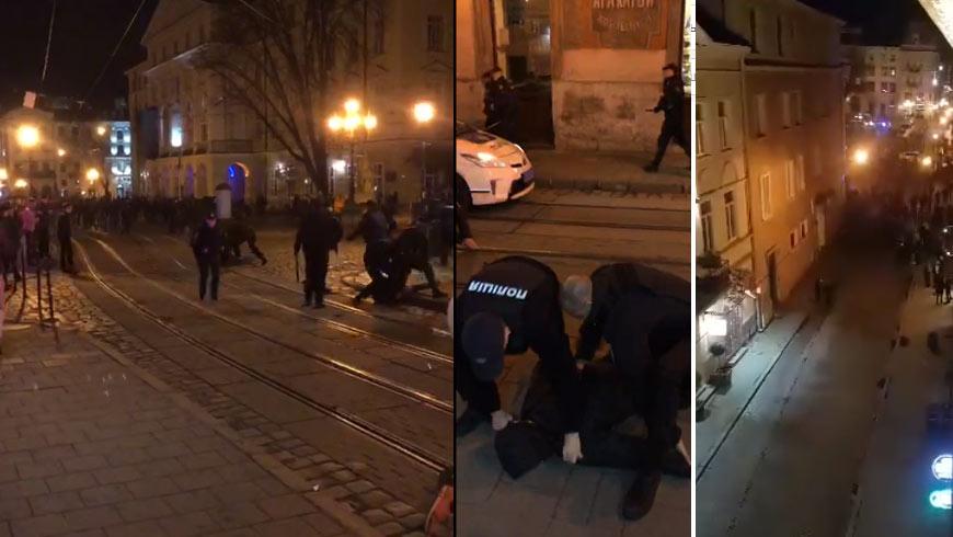 Невозможно было остановить! Во Львове произошла настоящая бойня. Разбиты машины, ранены полицейские