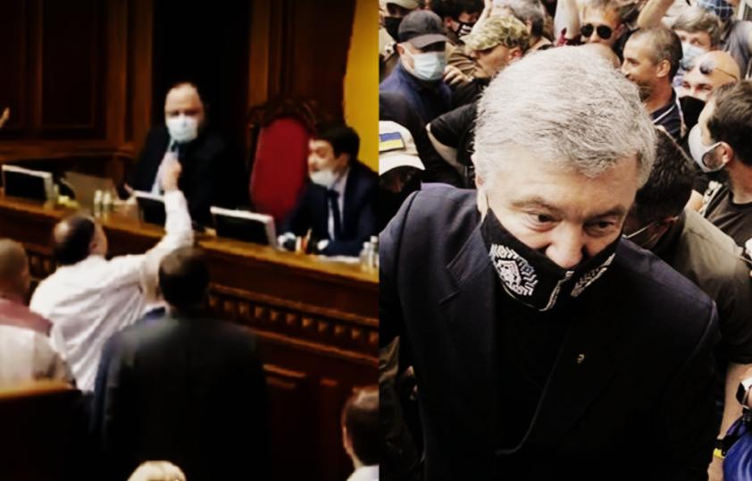 Разумков даже приподнялся — начал кричать! Просто сейчас — Порошенко устроил в Раде «бунт». Трибуна в блоке