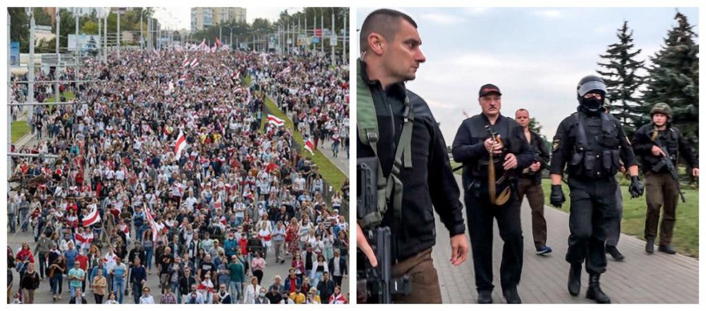 Баррикады в центре Минска! Свето-шумовые гранаты и водометы Лукашенко сопротивляется. Полицейские силой защищают Бацьку. Что происходит?