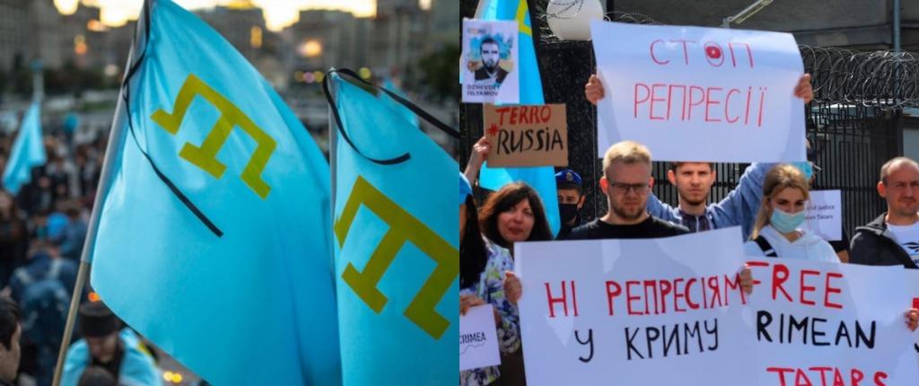 «Нет репрессиям», «Путин — убийца»: в Киеве состоялся митинг в поддержку задержанных крымских татар